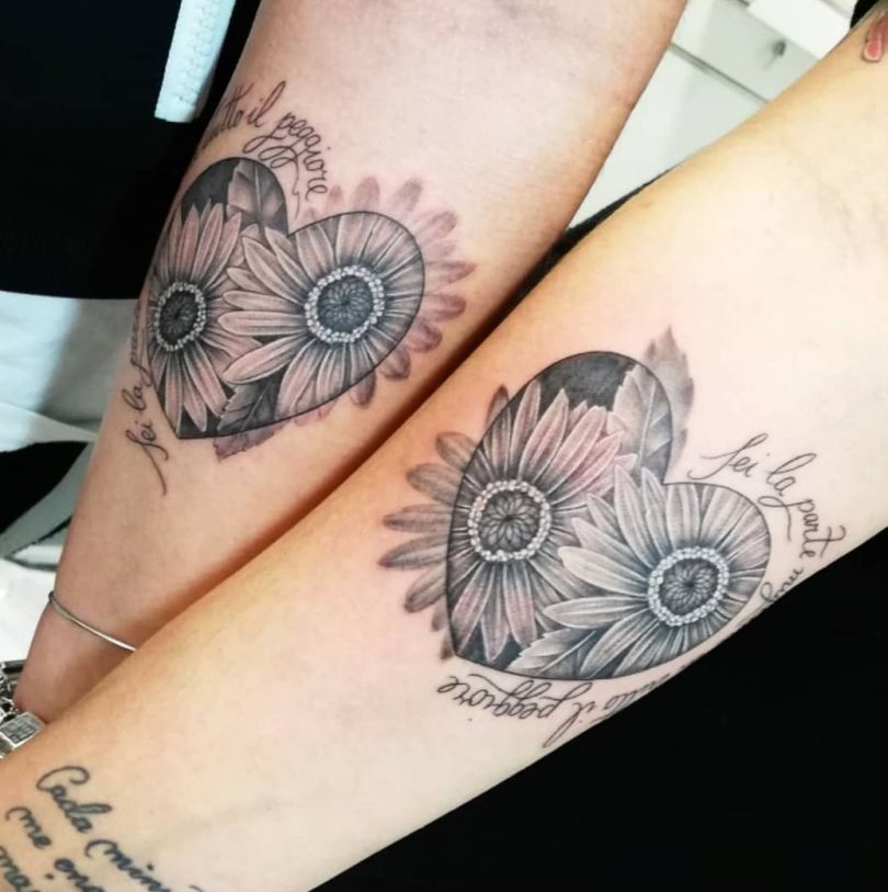 sunflower matching tattoo