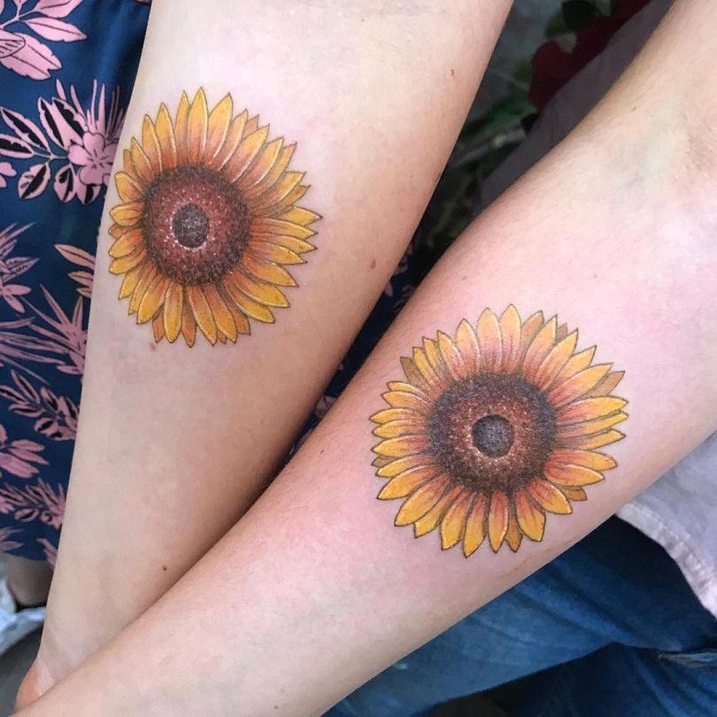 sunflower matching tattoos