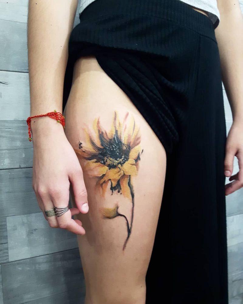 watercolor sunflower tattoos
