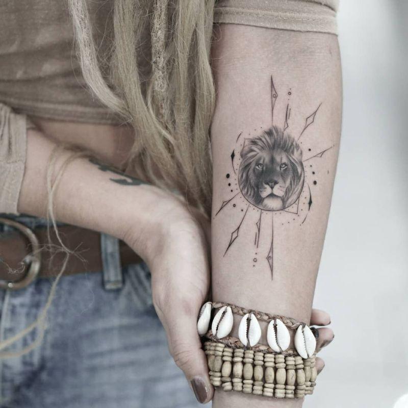 geometric lion tattoos