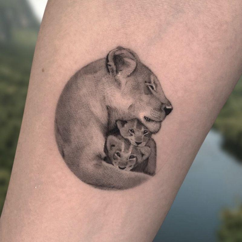 lioness & cubs tattoo