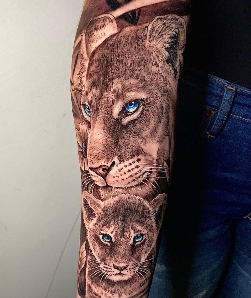 lioness and cub tattoo