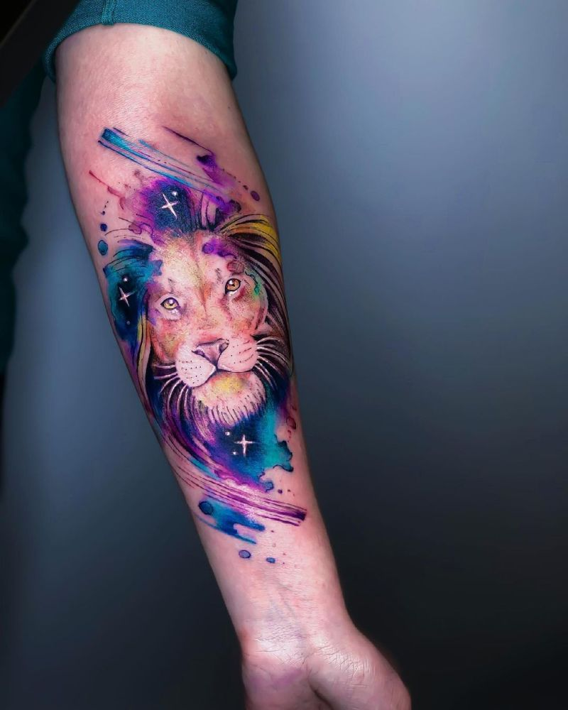 watercolor lion tattoos