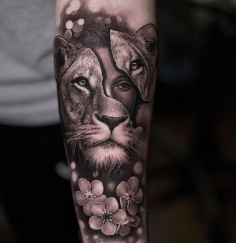 beautiful lioness tattoo