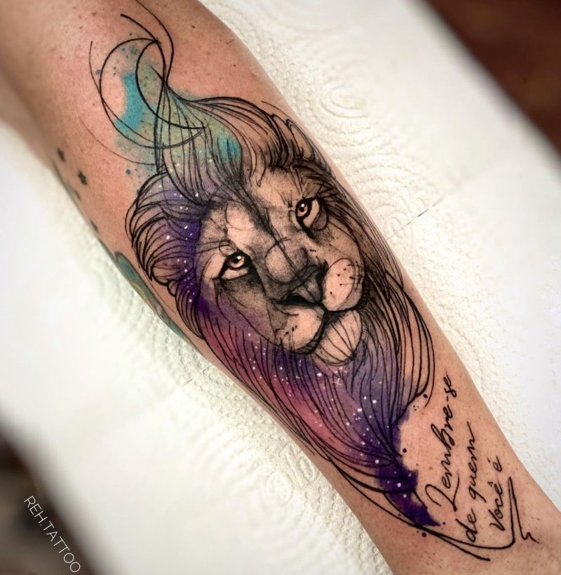 cool colored lion tattoos