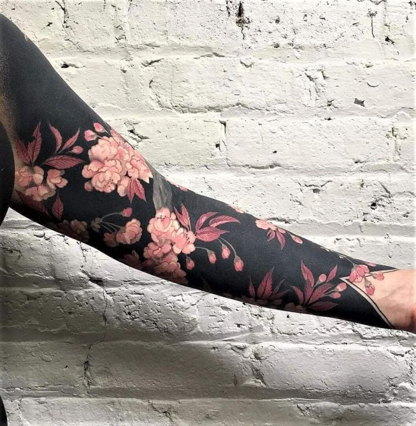 solid black tattoo for women