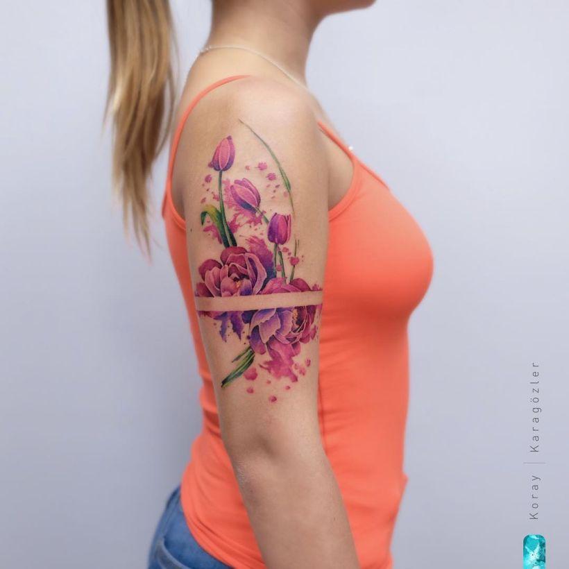 floral tattoo by Koray Karagözler