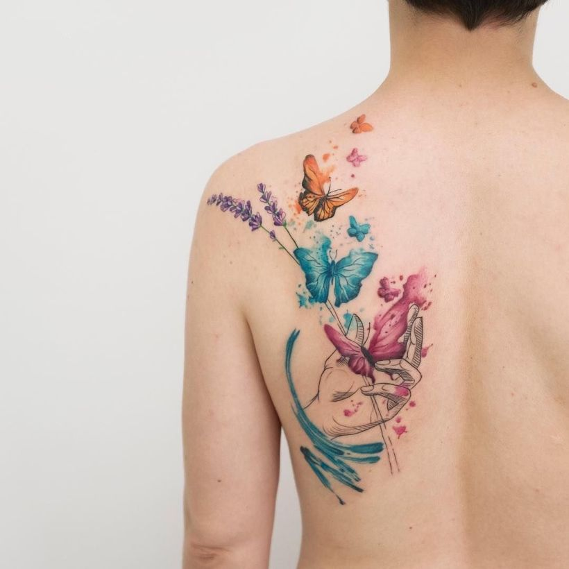 watercolor tattoo by Koray KARAGÖZLER