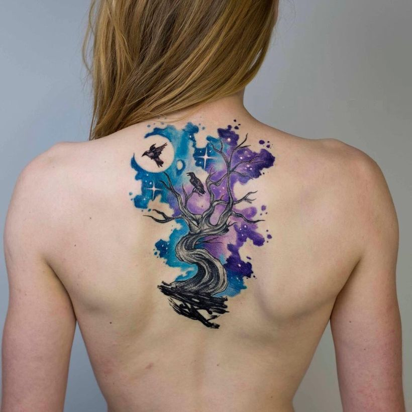 galaxy watercolor tattoo Koray Karagözler