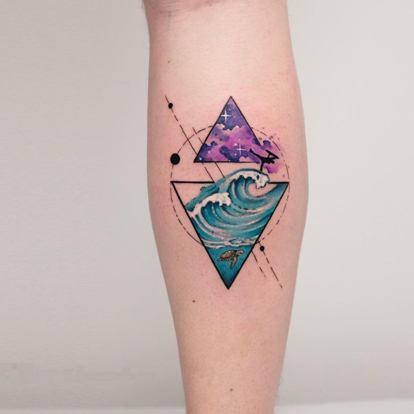 8e22dde3d geometric tattoo with watercolor splashes Koray Karagözler (16 ...