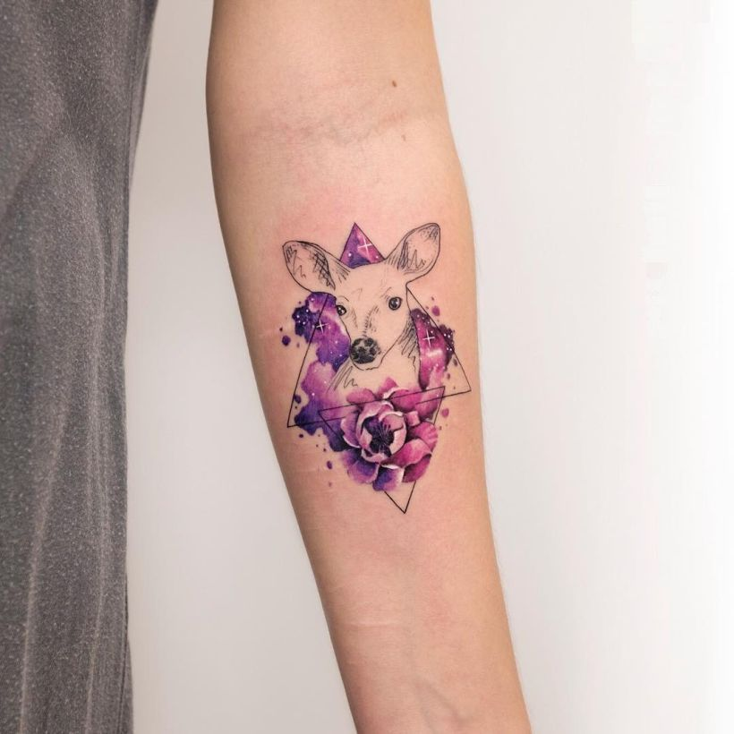 watercolor deer tattoo Koray Karagozler