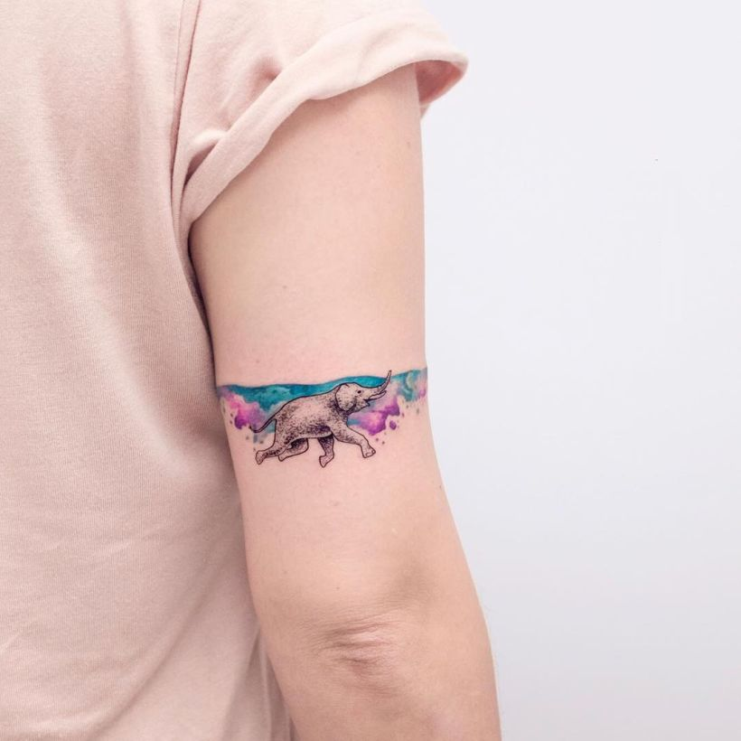 watercolor elephant tattoo Koray Karagözler