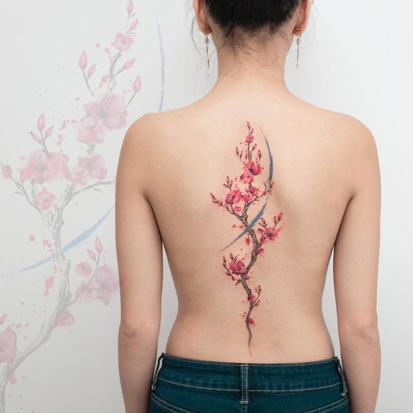 watercolor floral spine by Koray Karagözler