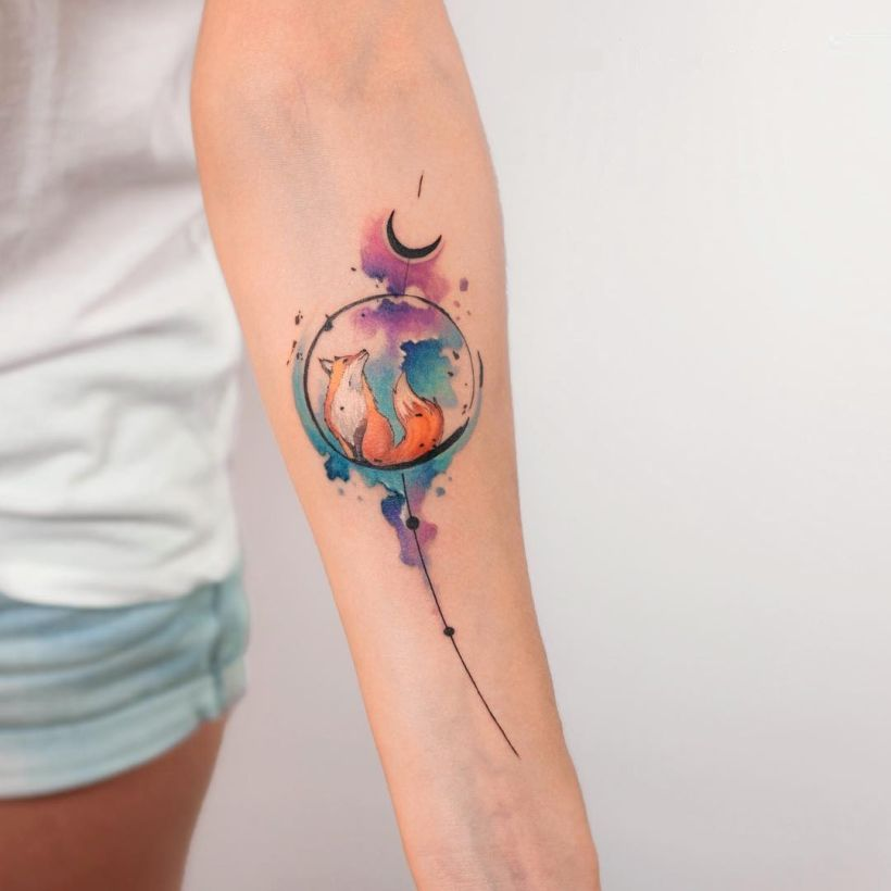 watercolor fox tattoo Koray Karagözle