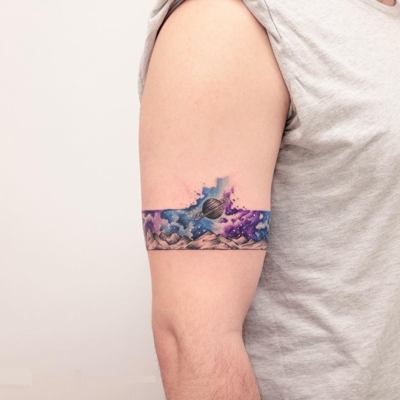 watercolor galaxy armband by Koray Karagözler