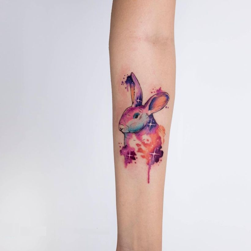 watercolor rabbit tattoo Koray Karagözler