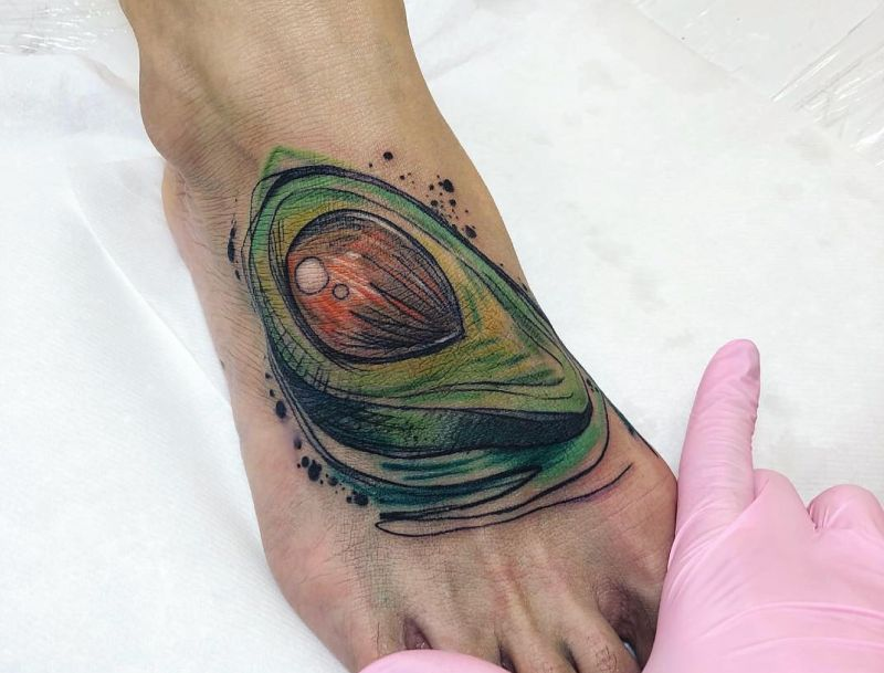 avocado watercolor tattoo