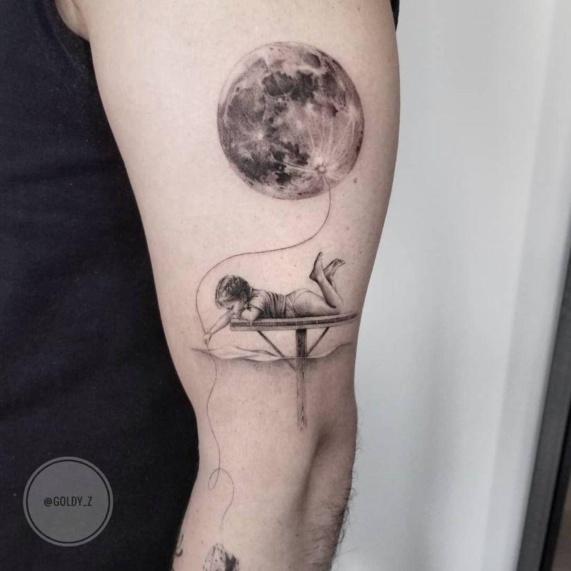 cute fine line realistic tattoo