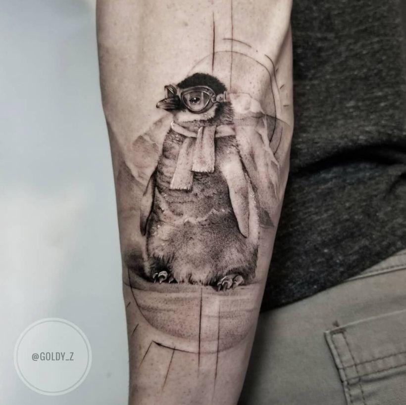 cute penguin tattoo Zlata Kolomoyskaya